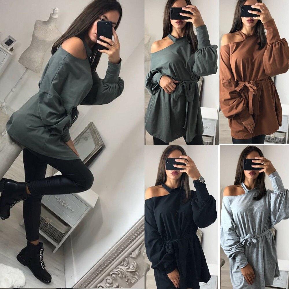Hirigin 2018 otoño mujeres Sweatdress nuevo vendaje mujeres vestido puro Color manga larga Sexy un hombro Mini vestidos mujeres primavera