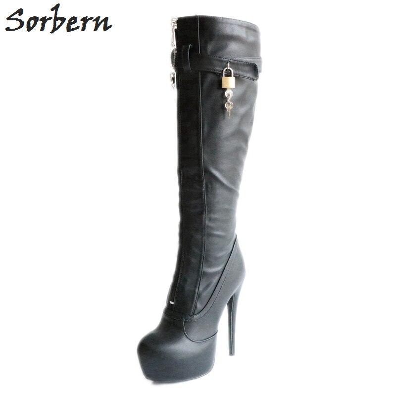 Женские сапоги до колена Sorbern, сапоги до колена на платформе с ремешком и пряжкой