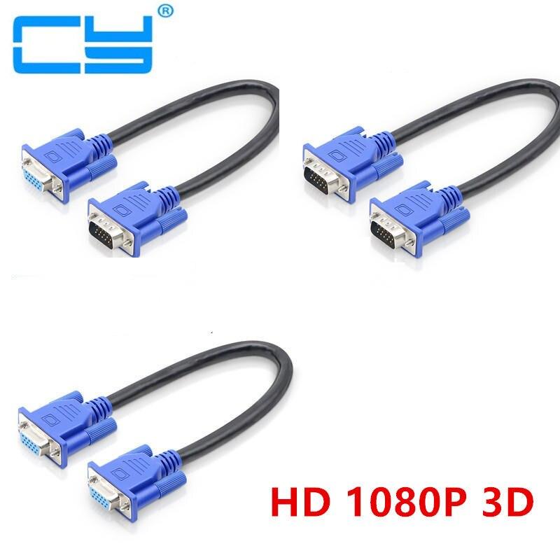 25cm 0,25 m HD15Pin VGA d-sub Cable de vídeo corto macho a macho M/M macho a hembra y hembra a hembra RGB Cable para Monitor