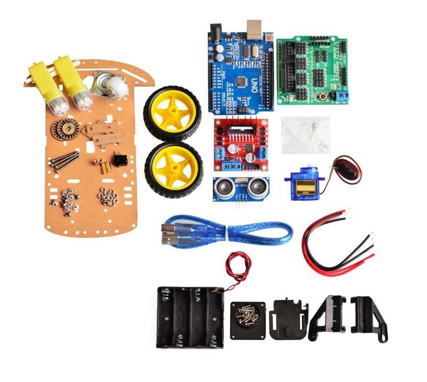 محرك تتبع تجنب جديد للروبوت الذكي ، طقم هيكل السيارة ، جهاز تشفير السرعة ، صندوق بطارية 2WD ، وحدة بالموجات فوق الصوتية لمجموعة Arduino 4WD