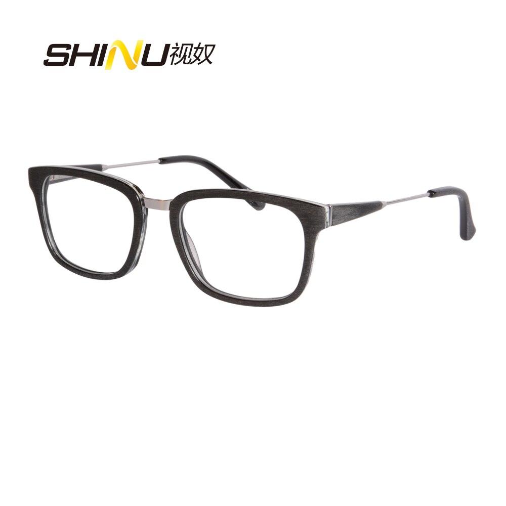 نظارات قراءة متعددة البؤر لقصر النظر الشيخوخي ، نظارات قراءة مع عدسات زرقاء تقليد مربعة الشكل ، إطار كامل من الأسيتات