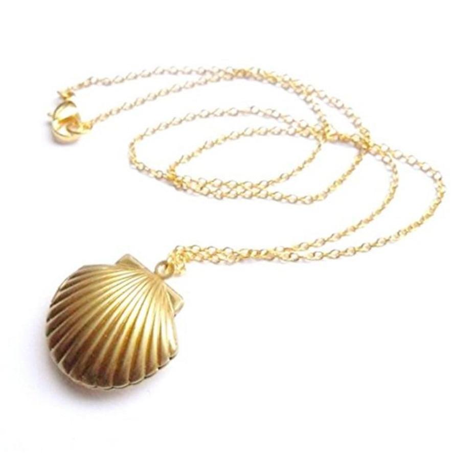 Gargantilla collares moda 2018 medallón de concha marina colgante medallón oro latón collar de concha marina 102510