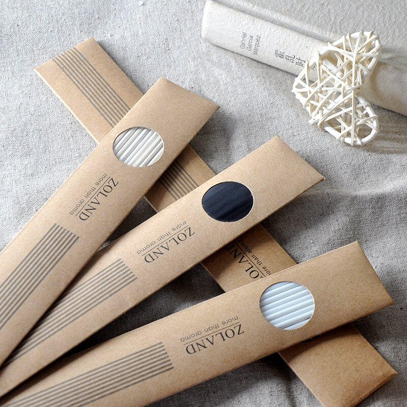 24cm papel Kraft envuelto Natural/negro/blanco Premium Rattan Reed fragancia aceite difusor reemplazo recarga palos Cañas 10 Uds