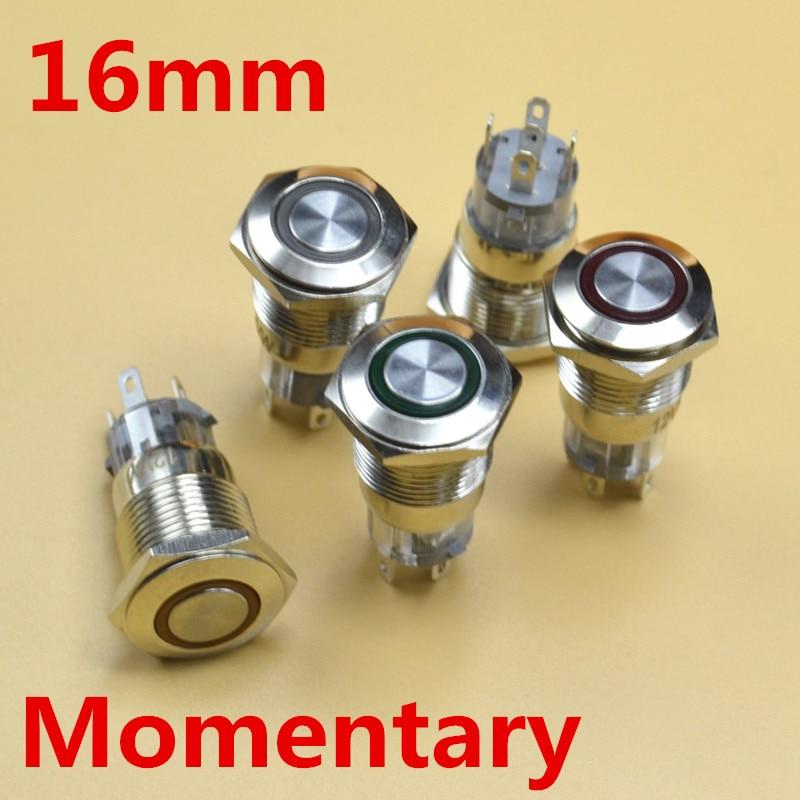 5V 12V 24V 220V LED 16mm interruptor momentáneo metal interruptor de botón pulsador 1NO1NC
