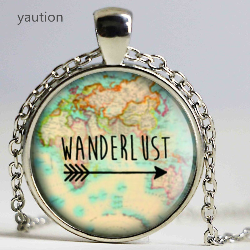 Wanderlust mapa de cosecha, collar de cristal de la foto collar de...