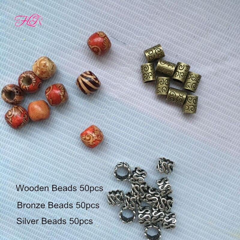 50Pcs Silver Dreadlock Beads Adjustable Hair Braid Cuff Clip +50Pcs 7mm Big Hole Bronze Micro Bead  50Pcs Wooden Dreadlock