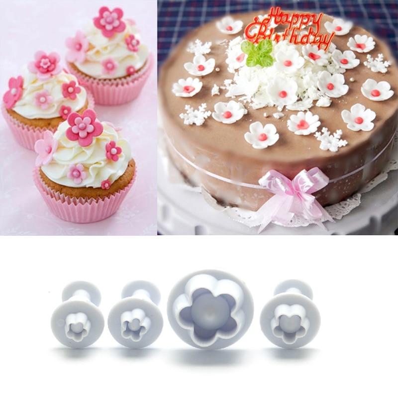4Pcs Pflaume Blume Sugar Fondant Plunger Cutters Cookie Keks Kuchen Form