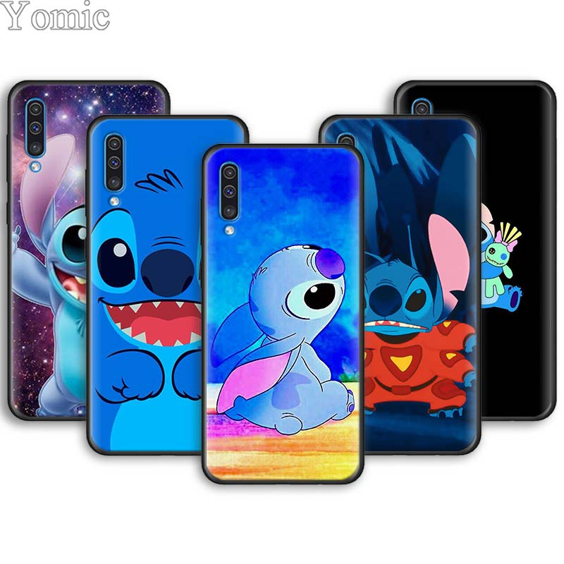 Bonito Lilo Ponto Casos de Telefone Macio para Samsung Galaxy A10 A20 A30 A40 A50 A70 A6 A7 A8 Plus A9 A51 A71 A90 5G Capa Preta