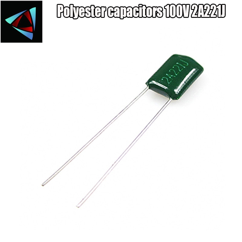 30 Uds condensador de película de poliéster 2A221J 100V 220pF 0.22nF