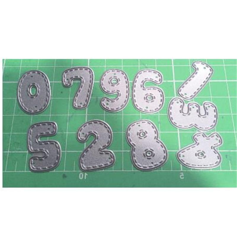 Hemere 0-9 números conjunto de dados de corte de metal para diy morrer scrapbooking álbum de fotos artesanato dados gravação estêncil metal dados