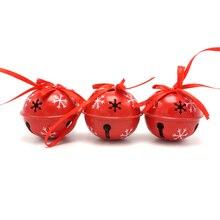 Cloche jingle de fer rouge pour la maison   Décoration de noël 6 pièces, petite cloche de neige 50mm, produit dornement de noël