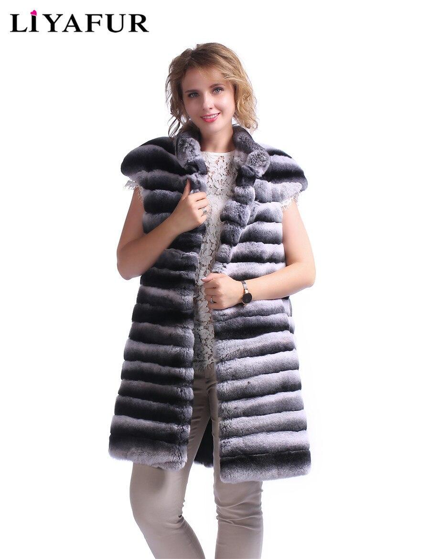 LIYAFUR Nouveau Réel Rex Lapin Chinchilla Fourrure Long Gilet pour Femmes Mode Gilet Hiver Chaud Stand Col Couverture De Gilet Dépaule