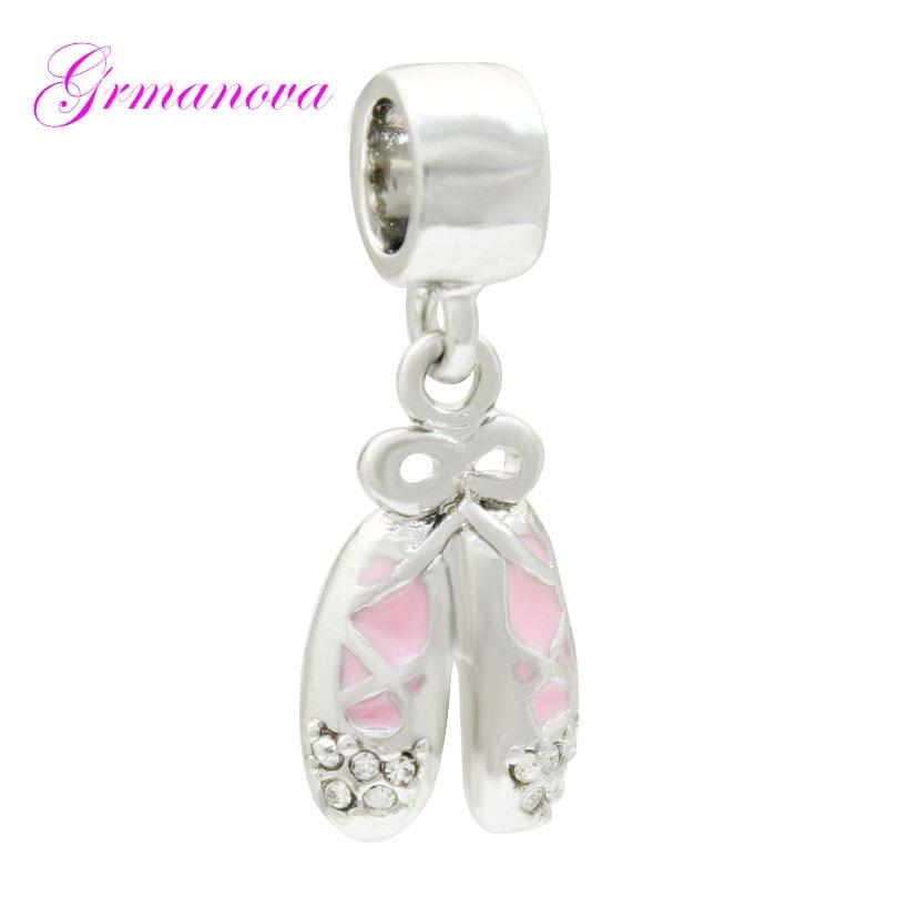 Abalorio rosa, cuentas, zapatos de ballet, colgante hecho a mano, accesorios de joyería DIY, amuleto, apto para pulsera Pandora, collar