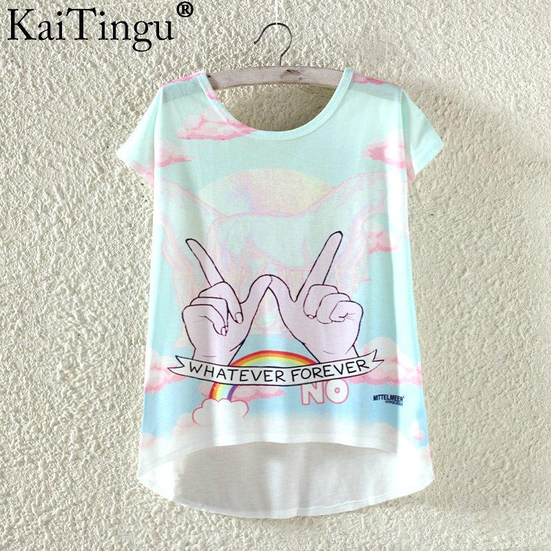 Kaitingu kawaii śliczne t koszula moda lato harajuku wysoki niski styl cat print t-shirt z krótkim rękawem t shirt kobiet topy plus size 25