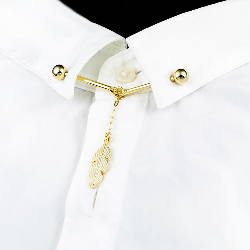 Neue Ankunft Kupfer Metall Ball Hemd Kragen Bar Pin Feder Anhänger Kragen Pin Klassische Krawatte Verschluss Casual Business Herren Schmuck