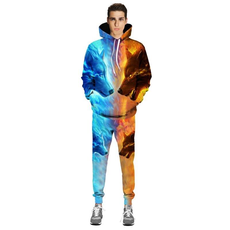 Лиса Волк 3D печатных Толстовка с длинным рукавом Свободные Athleisure мужские толстовки куртка осень зима пуловер