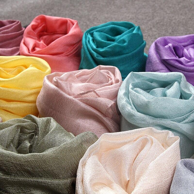 Женский модный простой шарф с жемчугом, шелковые и льняные шали, летние прозрачные тонкие мягкие мусульманский головной убор, платок, шарф, шарф