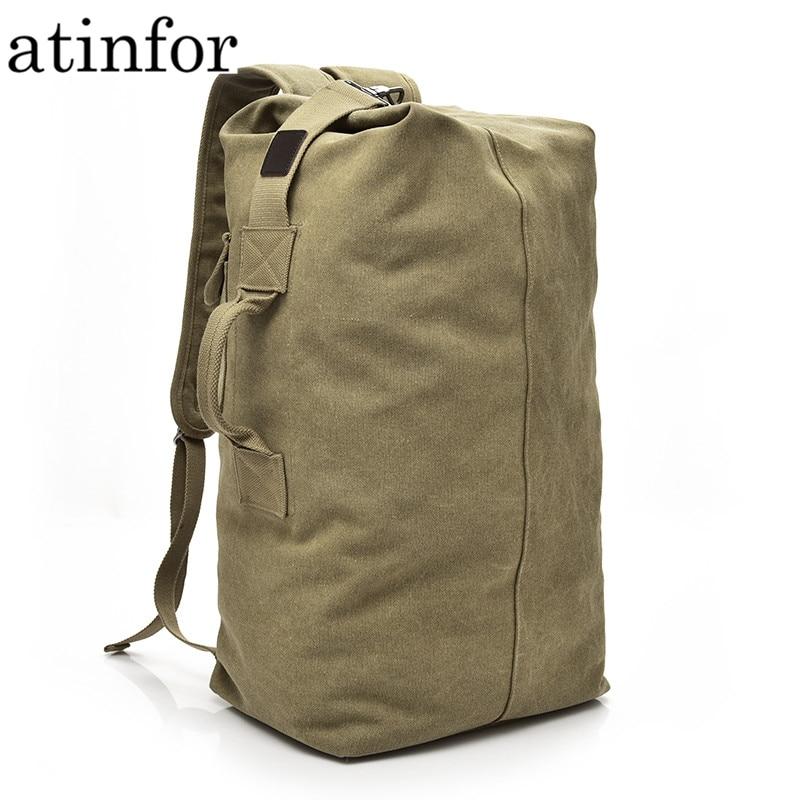 Bucket Vintage Canvas Backpack Men Travel Backpacks Portable Shoulder Bags Rucksack for Boys