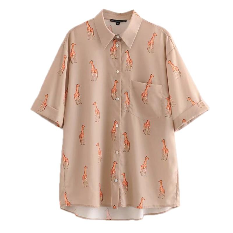 Women Casual Giraffe Print Blouse Pocket Three Quarter Sleeve Aniimal Pattern Pleated Shirt Female Loose Top FFZSY361
