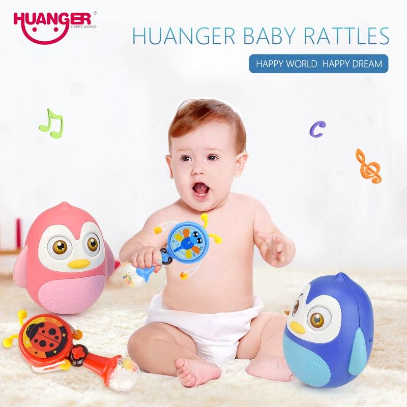 Huanger bebé Ratles 0-12 meses bebé anillo Bells juguete roly-poly vaso de dibujos animados muñeca sonajero Musical -durm regalo educativo
