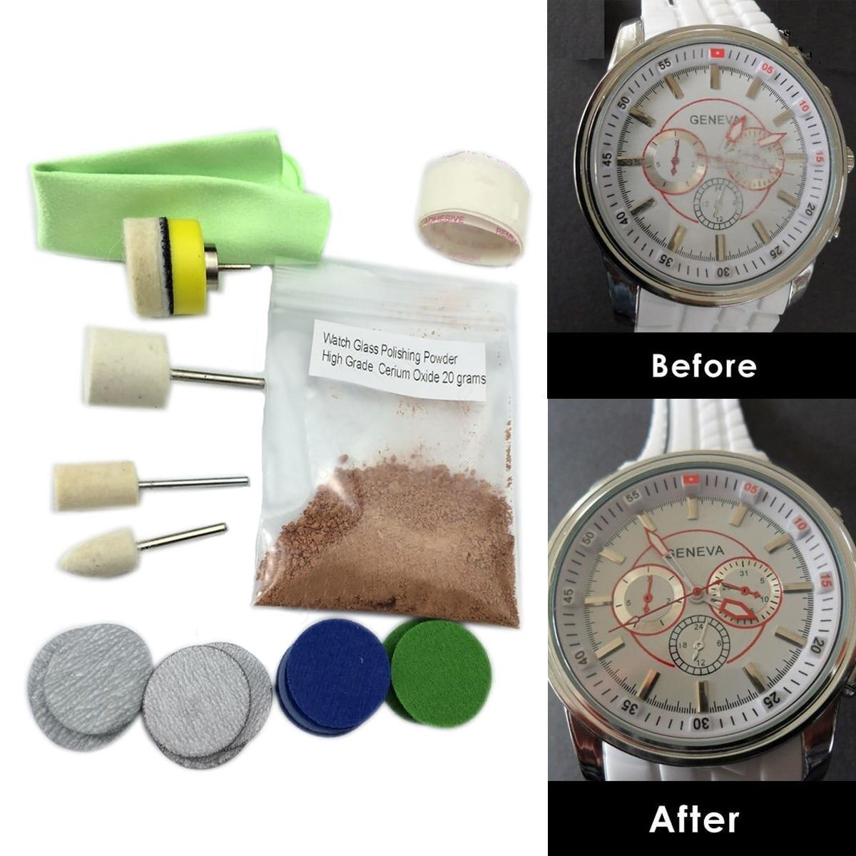 New Watch Glass Polishing Kit Glass Scratch Removal Set Acrylic Sapphire Crystal ossieao new watch glass polishing kit glass scratch removal set acrylic sapphire crystal