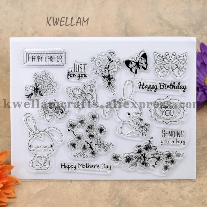 Feliz páscoa feliz dia das mães scrapbook diy cartões de fotos conta carimbo de borracha transparente selo 13x17cm kw7030130