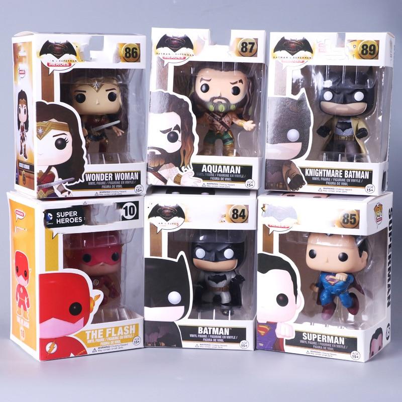 Поп-лиги Justice League Super hero Wonder Woman Aquaman Flash Superman Batman модель фигурки Коллекция Модель игрушки Бесплатная доставка