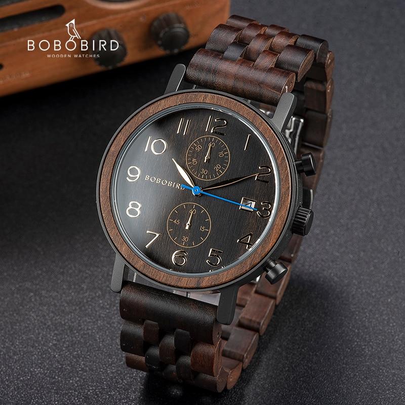 BOBO BIRD-ساعة رجالية خشبية ، حركة يابانية ، كوارتز ، هدايا رائعة للرجال