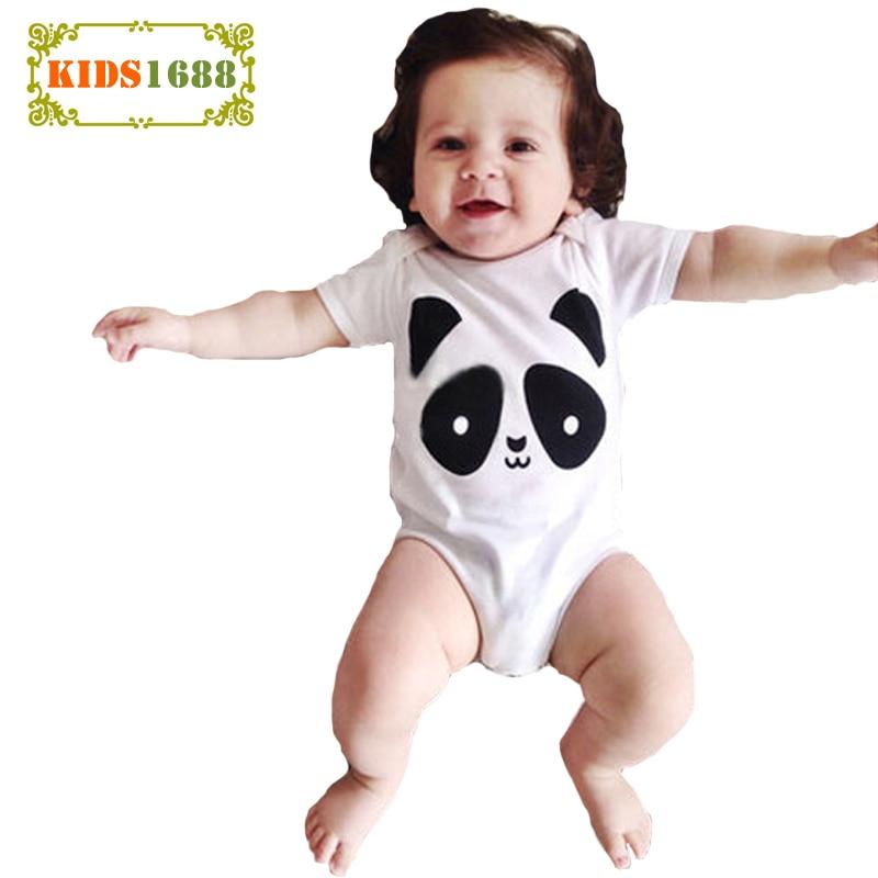 2017 ropa de bebé infantil de alta calidad mameluco de verano lindo oso Panda estampado bebé mono de manga corta bebé recién nacido mameluco