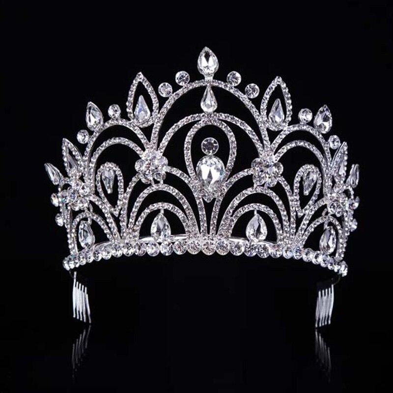 New Crystal Royal Big Drip Tiara Crown Princess Pageant Prom Vine Wedding Headband Bridal Head Tiaras Hair Jewelry T-033