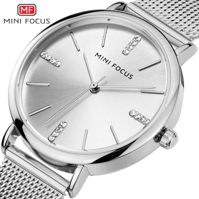 Modern Fashion MINI FOCUS Quartz Watch Women Mesh Stainless Steel Watchband High Quality Casual Wristwatch Gift for Female enlarge