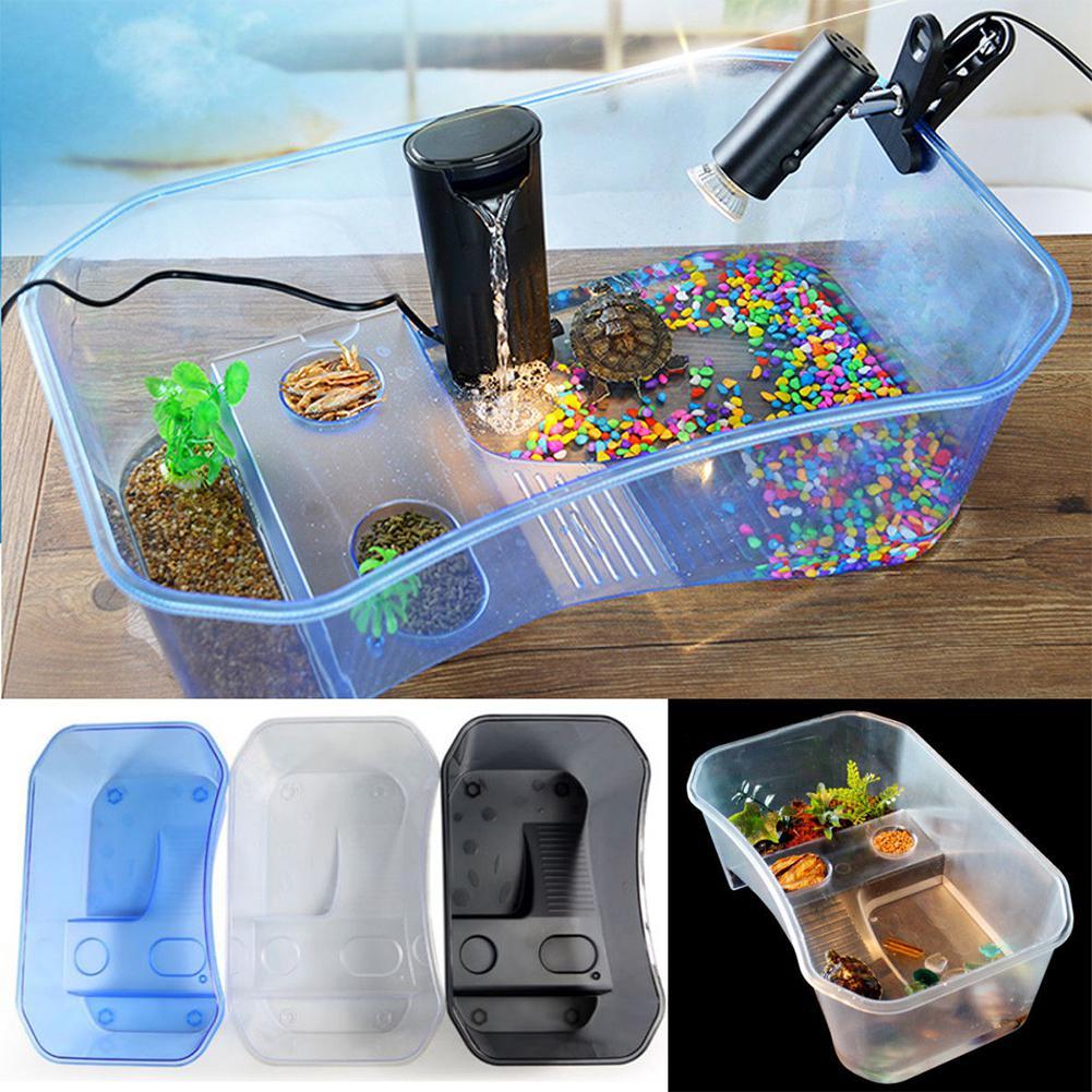 Novo réptil tartaruga vivarium caixa aquário tanque de reprodução comida tartaruga caixa alimentação com plataforma basking casa aquário
