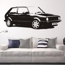Autocollant Mural de voiture en papier   Autocollant amovible, Vintage, grande voiture VW Golf GTI Mk1, pour décoration de la maison, classique