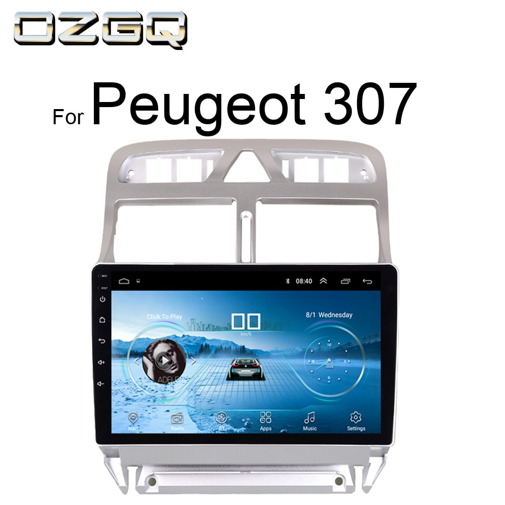 OZGQ Radio coche Android 8,1 sistema 9 pantalla táctil navegación Multimedia para Peugeot 307 2002-2013 con Wifi GPS WIFI