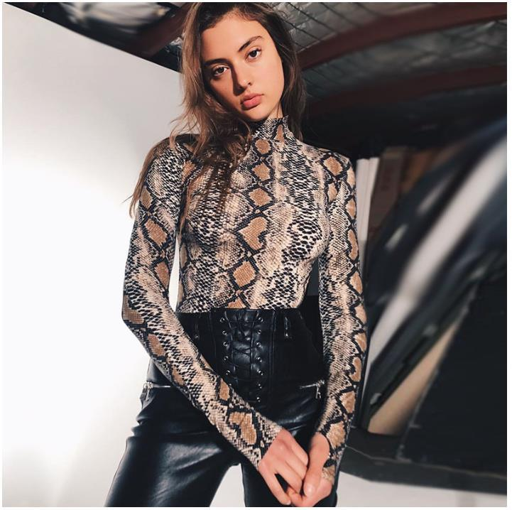 2019 NEW High Neck Long Sleeve Sexy Women Bodysuit Snake Print  Women Fashion Cotton Sexy nightclub Body Bodycon Bodysuit