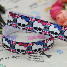 DHK 5/8 inch 5yards Fold Over Elastic FOE   monster high skull printed ribbon headband diy decoration OEM Wholesale C240
