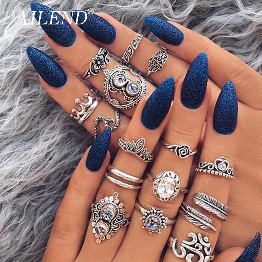 VKME Vintage nudillo mano Opal dedo anillo conjunto para mujeres hoja flor anillos de corona de corazón Bague Femme Boho declaración joyería