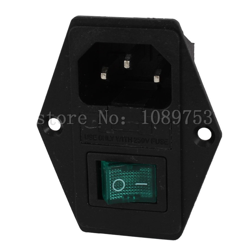 Carcasa de plástico AC 250V 15A IEC320 C14 botón de entrada I-O Power Socket wFuseholder