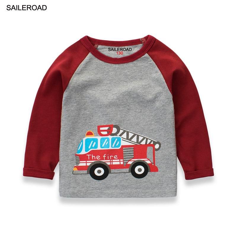 SAILEROAD 2-9 lat dzieci dzieci chłopcy T koszula bawełna chłopcy dziewczęta z długim rękawem t-shirty jesień nowe dziecko zabawkowa ciężarówka strażacka koszule