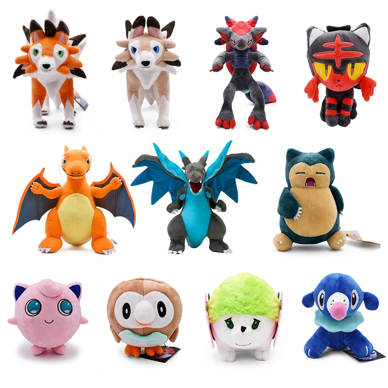 13 видов стилей плюшевые игрушки Charizard Lycanroc Zoroark Jigglypuff Shaymin PP Хлопок чучела животных детей плюшевая кукла в подарок