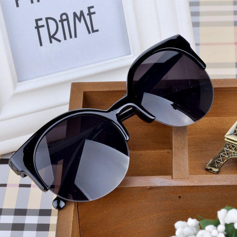 Fashion Cat Eye Sunglasses Women Vintage Semi-Rimless Sun Glasses Gafas Inspired Round Circle Sungla