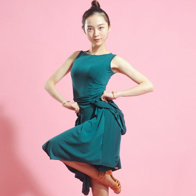 Vestido de baile latino sin mangas cuello redondo mujeres Salsa Samba ropa de práctica señoras Flamenco vestido de baile latino DNV10434
