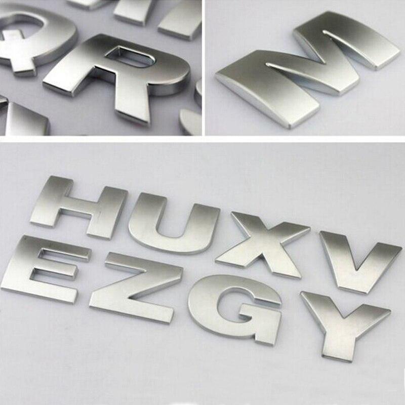 1 Uds pegatina de coche de plata emblema negro Digital figura número creativo 3D letras A-Z/0-9 cromo DIY Car styling metal Sticker