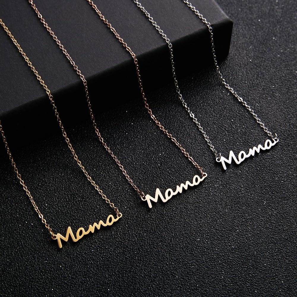 Ожерелье с надписью «Mama», ожерелье из нержавеющей стали с цепочкой-замком для мамы и ребенка, женское ожерелье, подарок на день матери