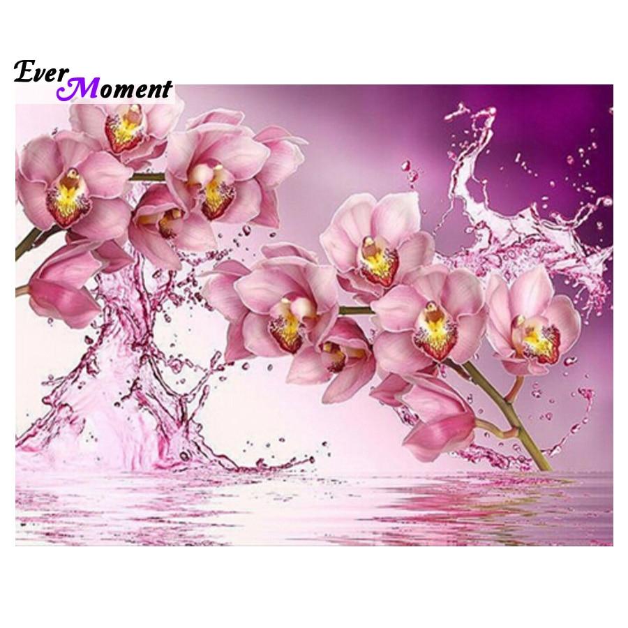 Imagen de punto de cruz con pintura de orquídeas agua y rosa, decoración de pared con diamantes de imitación, bordado de diamantes cuadrados, decoración de boda ASF385