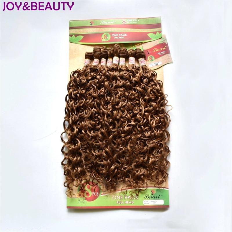 "VREUGDE & BEAUTY Mongoolse Kinky Krullend Synthetisch Haar Bundel 8 stks 20 ""-24"" inch korte hair extensions afro 4 Kleur"