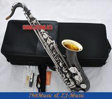 Pro nuevo saxofón Tenor de níquel negro saxofón campana de oro alto F # llave de plata con funda
