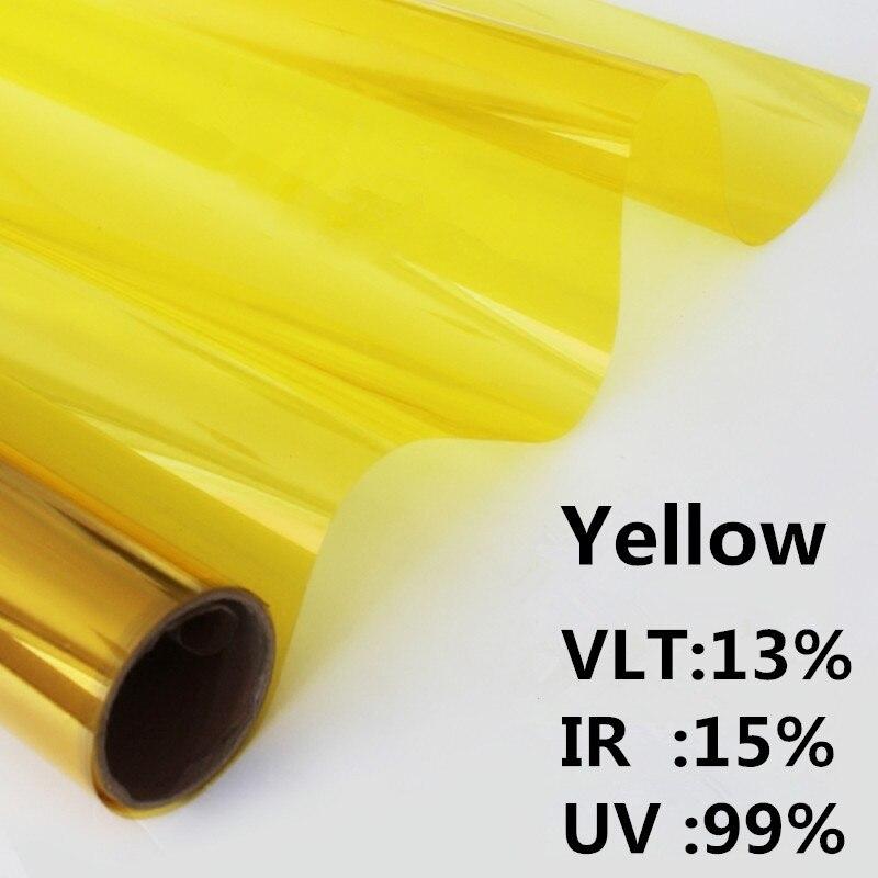 Película de ventana amarilla de 20x118 pulgadas, tinte de ventanilla no reflectante, película decorativa a prueba de UV Slar 0.5x3m