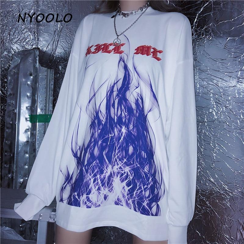 Camiseta blanca NYOOLO de otoño Harajuku con estampado de llama, camiseta informal de manga larga con cuello redondo, camiseta para hombres y mujeres