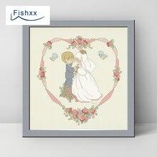 Europäischen Stil Fishxx Querstich 14CT Kit H024 Niedliche Comic-figuren Muster Braut Und Bräutigam Handliche Hochzeit Festliche Hochzeit